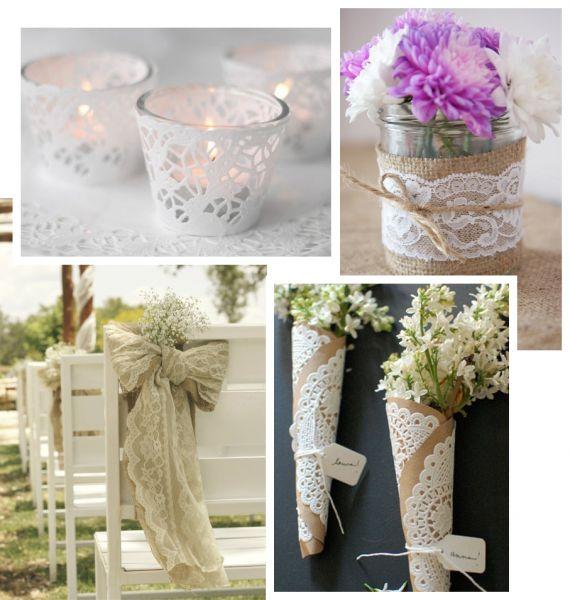 Оформление, декор. Свадебные аксессуары. Кружевная свадьба