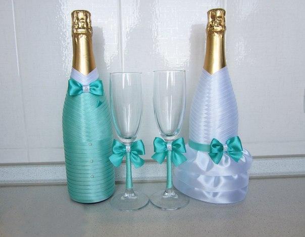 Украшение бокалов и шампанского своими руками
